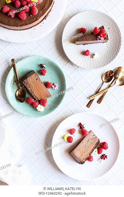 Chocolate Cheesecake with raspberries