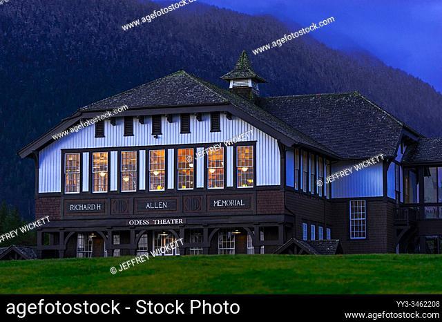 Allen Auditorium on the campus of the old Sheldon Jackson College in Sitka, Alaska, USA