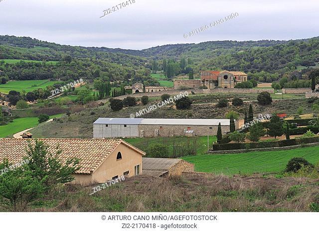 View of Monastery of Monsalud. Córcoles, Guadalajara, Spain
