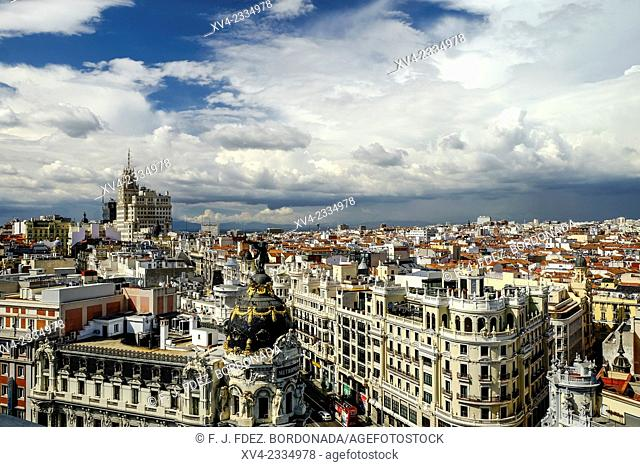 Panoramic views of Metropolis Building and Gran Via from Bellas Artes top floor, terrace. Madrid city. Capital of Spain. Europe