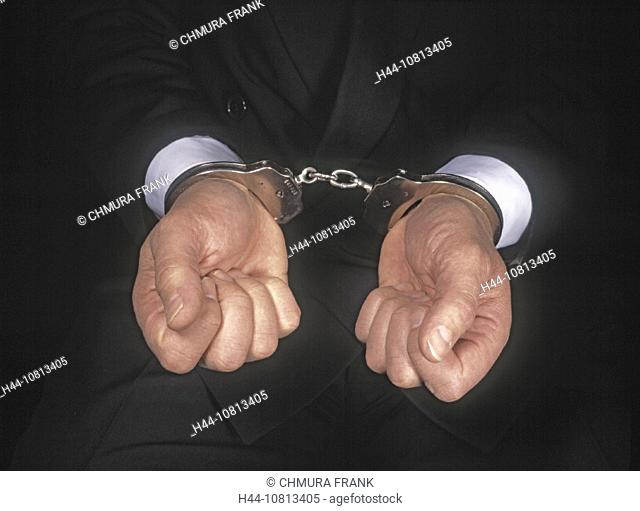 Business, Business Metaphors, Caucasian, Concepts, Convicted, Crime, Criminal, Finance, Fraud, Hand, Hand cuffs, Handc