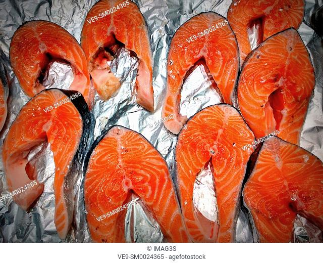 Fresh salmon ready to be sold
