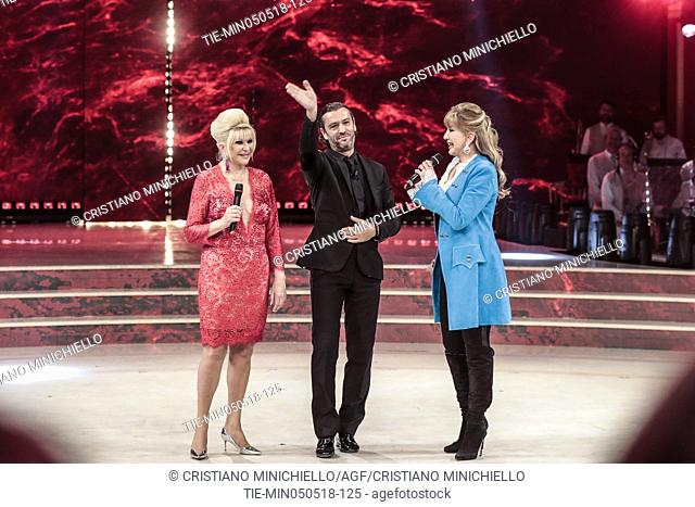 Ivana Trump, husband Rossano Rubicondi, tv presenter Milly Carlucci during the tv show Dancing with the stars, Rome, ITALY-05-05-2018