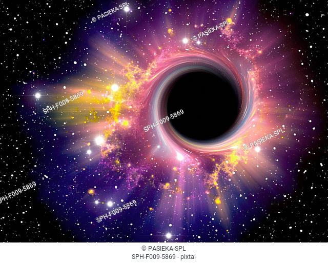 Black hole. Computer artwork representing a black hole against a starfield. A black hole is a super- dense object, thought to form from the collapse of a huge...