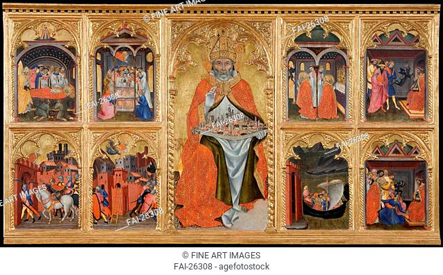 Saint Geminianus with scenes from his life. Taddeo di Bartolo (1362. 63-1422). Tempera on panel. Gothic. 1401. Italy, School of Siena