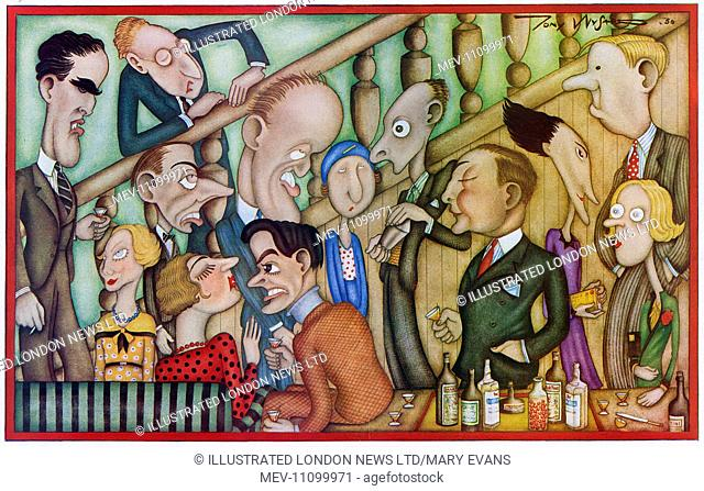 Cartoon showing some young personalities of the time at a party: Rosemary Hope-Vere, Oliver Messel, Philip Kindersley, Lord Donegall, Sir Anthony Weldon