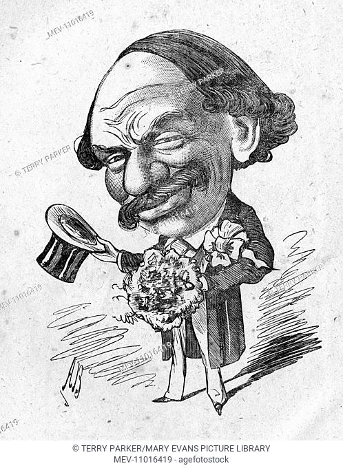 Caricature of Sir Julius Benedict (1804-1885), the youthful bridegroom. He was a German-born composer and conductor who lived in England for most of his career