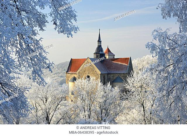 Germany, Saxony-Anhalt, Burgenlandkreis (district), Goseck, Saaletal (valley), Schloss Goseck (castle) in winter, trees covered with hoarfrost