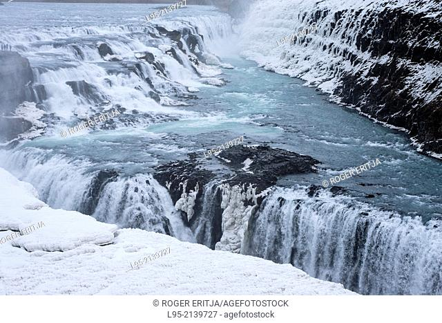 One of the most famous waterfalls in Iceland, Gullfoss (Golden waterfall)