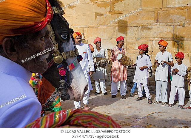 Gangaur festival,musicians inside the Fort near Raj Mahal Royal Palace, Jaisalmer, Rajasthan, India
