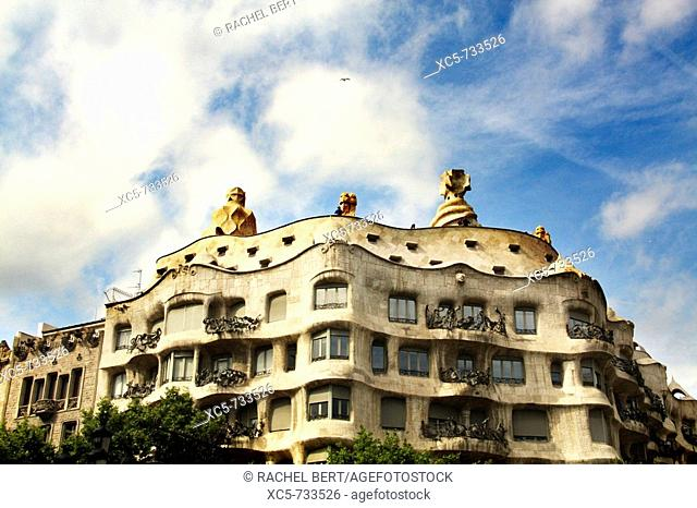 Mila House (aka La Pedrera) in Passeig de Gracia, Barcelona. Catalonia, Spain