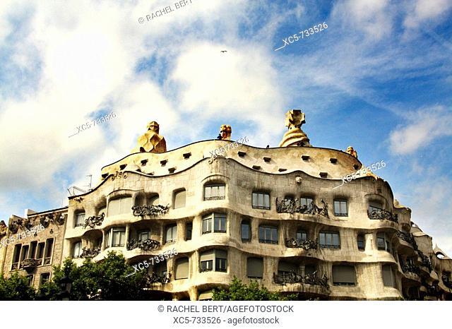 Mila House (aka La Pedrera) in Passeig de Gracia, Barcelona. Catalonia, Spain