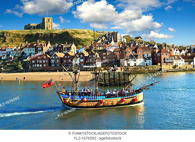 Tourists on a Pirate boat in Whitby harbour  North Yorkshire, England