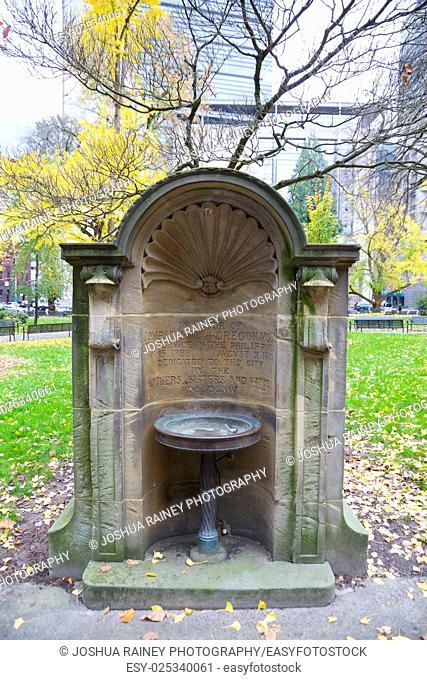 Drinking fountain at a public park near city hall in Portland Oregon