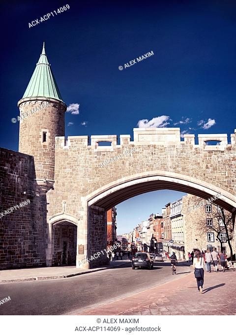 Porte St. Jean Quebec city historic wall fortification rampart. Rue Saint-Jean street, Quebec, Canada. Ville de Québec