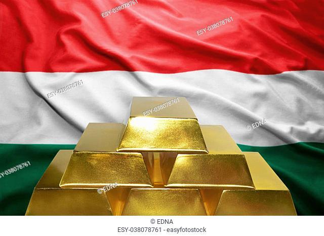 shining golden bullions on the hungarian flag background