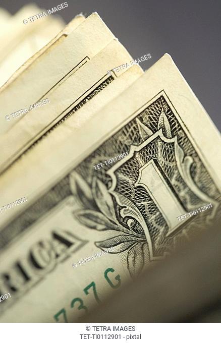 Closeup of corners of dollar bills