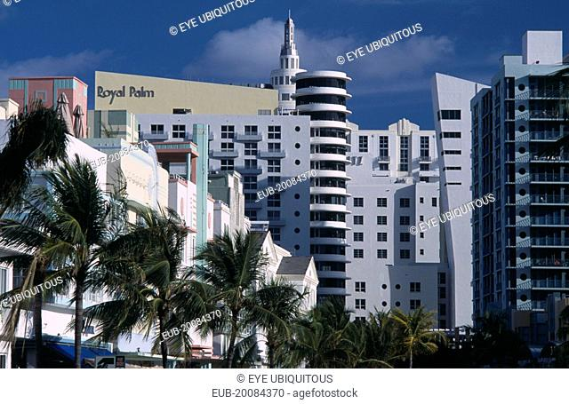 South Beach. Old meets new; Art Deco and modern architecture dominate the skyline at the north end of Ocean Drive