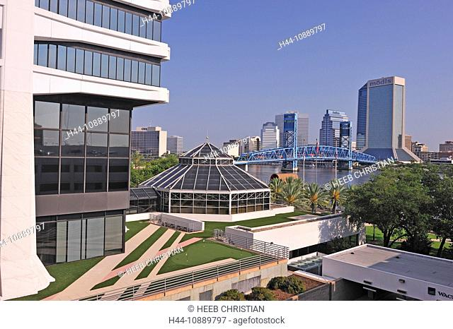 St. Johns River, Blue bridge, Jacksonville, Florida, USA, United States, America, buildings