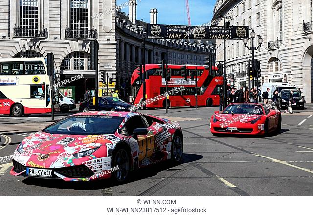 The 2016 Gumball 3000 leaves London on it's way to the finish in Bucharest Featuring: Atmosphere Where: London, United Kingdom When: 03 May 2016 Credit: WENN