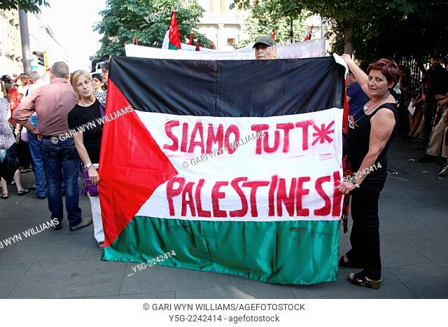 Rome, Italy 24th July 2014 Pro Palestine rally in the Esquilino district of Rome, Italy