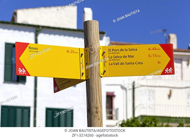 Sign distance destination, treeking route,Cap de Creus area in mediterranean village, Cadaques,Costa Brava,province Girona, Catalonia