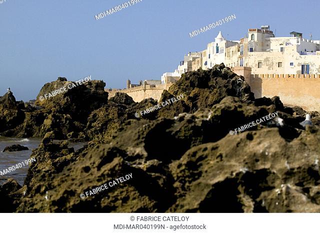 The medina and its ramparts behind the coast rocks