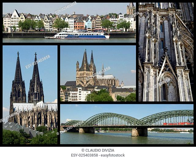 Landmarks collage of the city of Koeln, Germany