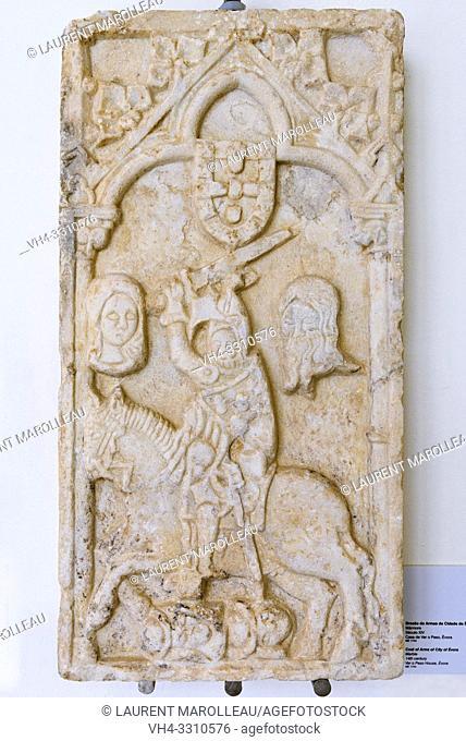 Coat of Arms of City of Evora, Marble (14th century) from Ver o Peso House, Evora Museum, Evora, Alentejo Region, Portugal, Europe