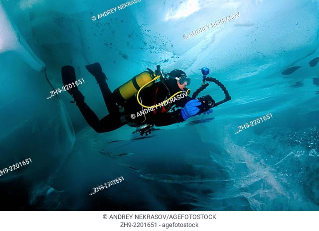ice-diving, in lake Baikal, Siberia, Russia, island Olkhon