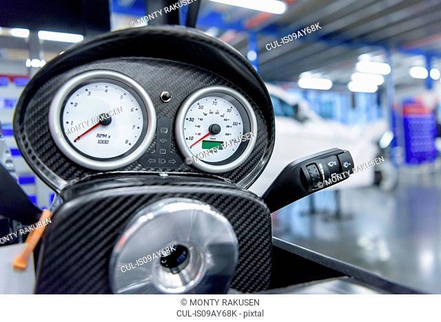 Speedometer detail in racing car factory