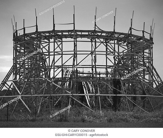 Abandoned Roller Coaster in Amusement Park