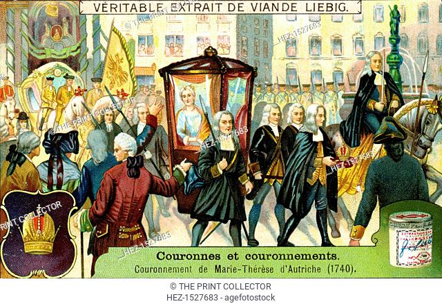 The Crowning of Maria Theresa of Austria in 1740, (c1900). French advertising for Liebig's extract of meat
