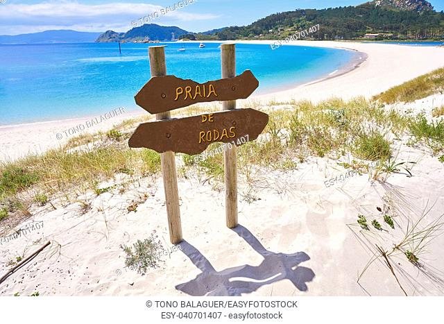 Praia de Rodas beach sign in islas Cies island in Vigo at Spain