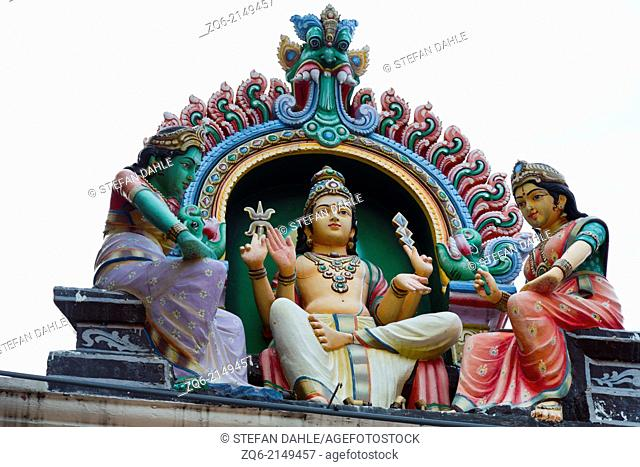 Sculptures on the Gopuram of the Sri Mariamman Temple in Singapore