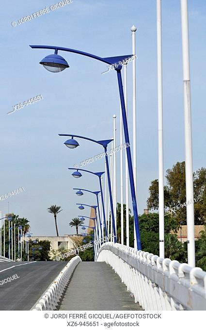 Footbridge to La Cartuja island over Guadalquivir river, Seville, Andalusia, Spain