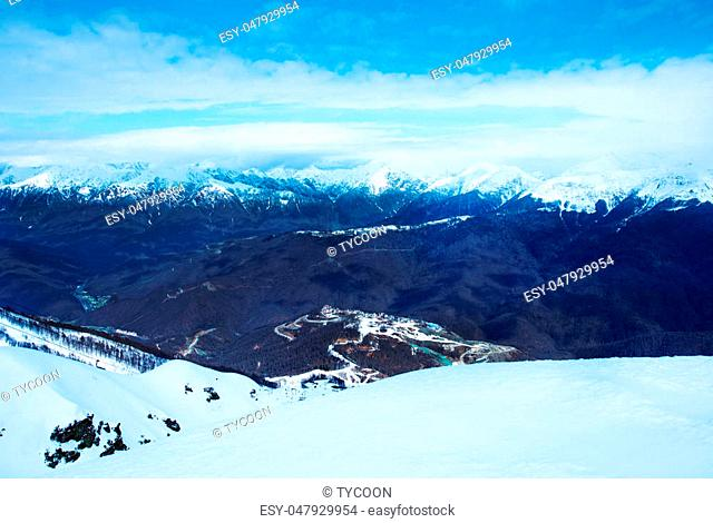 winter mountains in Sochi, Russian Federation