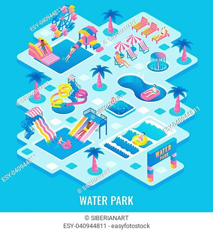 Vector flat isometric illustration of water park with different types of slides, swimming pools, ferris wheel, whirlpool bath, fountains