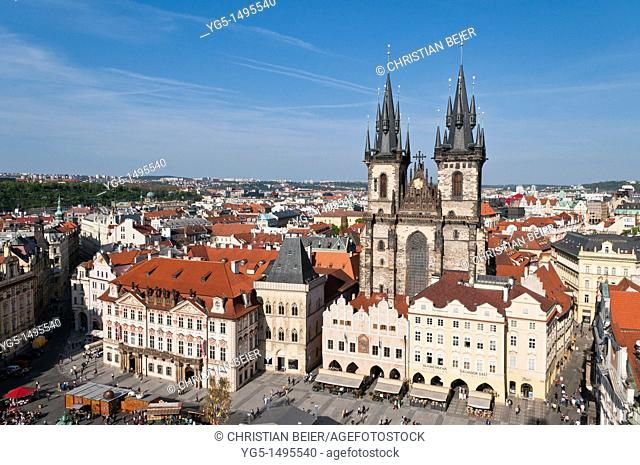 View from the Town Hall to the Tyn Church, Old Town Square, Old Town, UNESCO World Heritage Site, Prague, Bohemia, Czech Republic