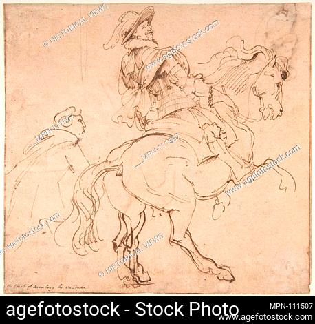 Study for an Equestrian Portrait, Possibly that of Albert de Ligne, Count of Arenberg; verso: Various Studies of Statues and Figures