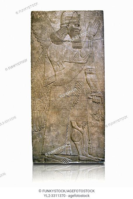 Assyrian relief sculpture panel of a protective spirits holding a bucket of holy water wearing a rosette bracelet which symbolises divine power