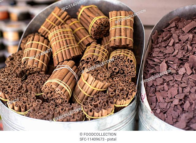 Bundles of cinnamon sticks at a market