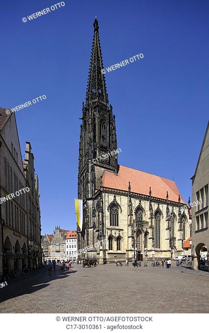Muenster (Westfalen), D-Muenster, Westphalia, Muensterland, North Rhine-Westphalia, NRW, Saint Lamberti Church, Late Gothic