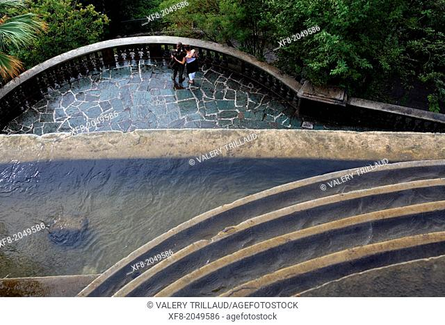 The waterfall of 'Le Chateau' garden from above in Nice city, Alpes-Maritimes, 06, PACA, France