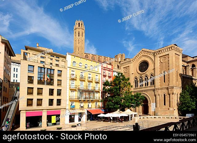 La Seu Vella cathedral and Sant Joan square, LLeida, Catalonia, Spain