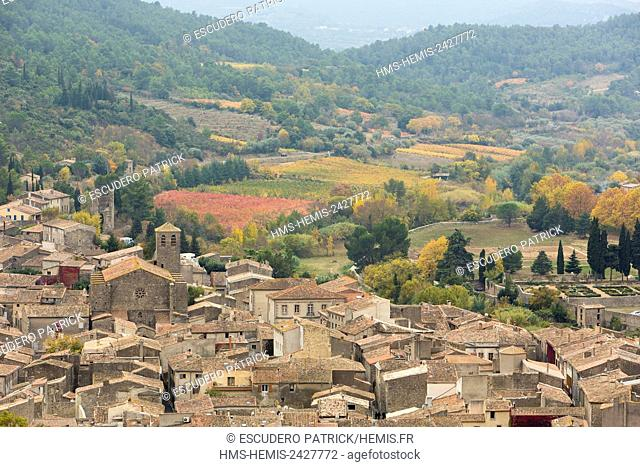 France, Aude, Pays Cathare, Lagrasse labelled Les Plus Beaux Villages de France (The Most beautiful villages of France), the village with the Orbieu river and...