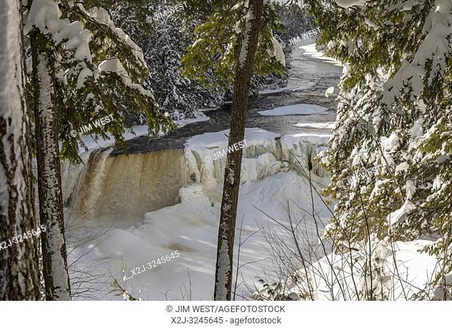 Paradise, Michigan - Tahquamenon Falls in winter. The falls are located in Tahquamenon Falls State Park, in Michigan's upper peninsula