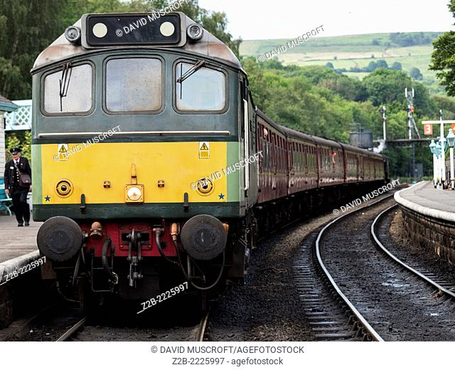 Vintage diesel powered locomotive Sybilla at Grosmont station on the North Yorkshire Moors Railway, near Whitby, North Yorkshire, UK