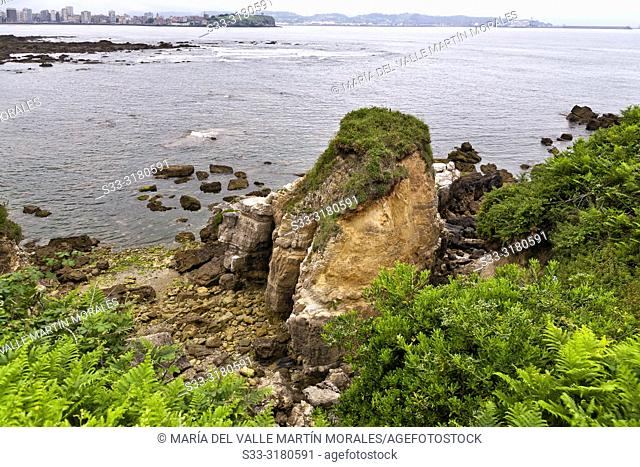 Cliffs at Cervigon beach. Gijon. Asturias. Spain