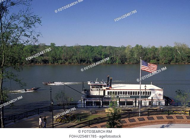 steam boat, Augusta, GA, Georgia, Princess Augusta Riverboat dock at River Walk along the Savannah River in Augusta